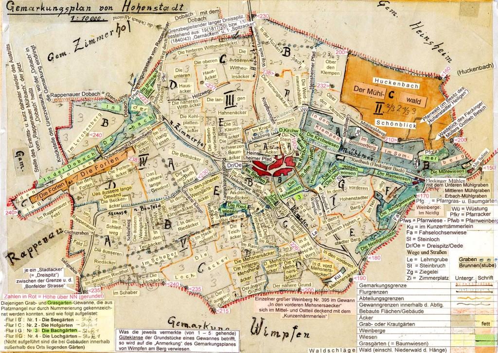 Karte Flurnamen von Hohenstadt bei Wimpfen, erstellt von Erich Scheible