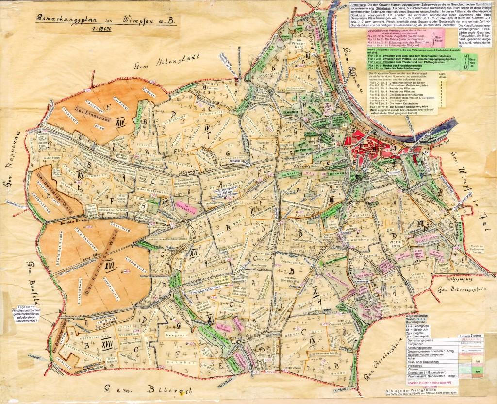 Karte Flurnamen von Wimpfen am Berg, erstellt von Erich Scheible