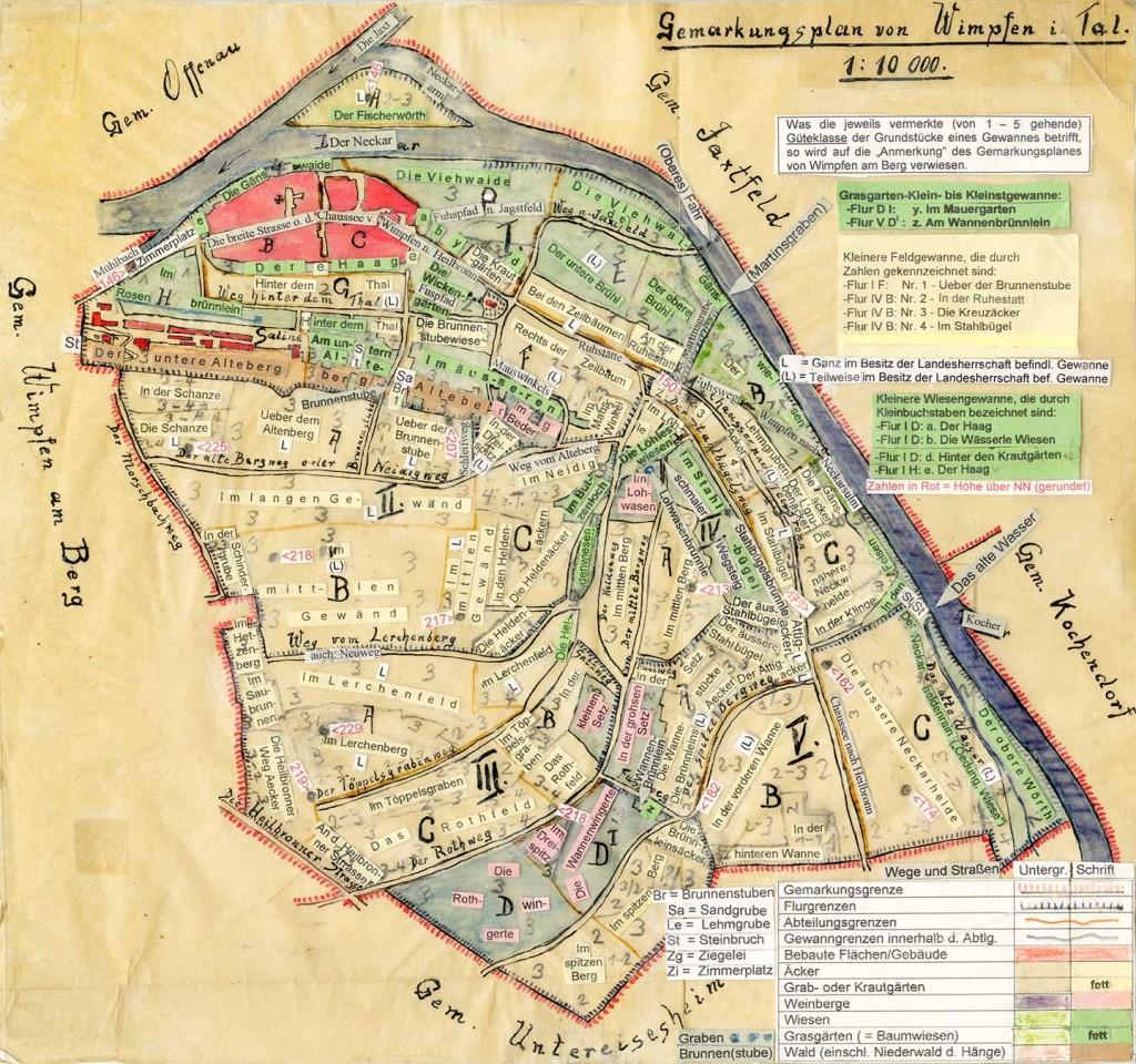 Karte Flurnamen von Wimpfen im Tal, erstellt von Erich Scheible